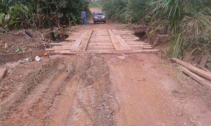 The temporarily repaired bridge.