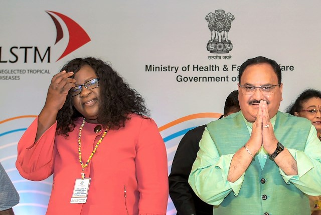 Union Health Minister JP Nadda with Minister within the Ministry of Public Health Dr. Karen Cummings.