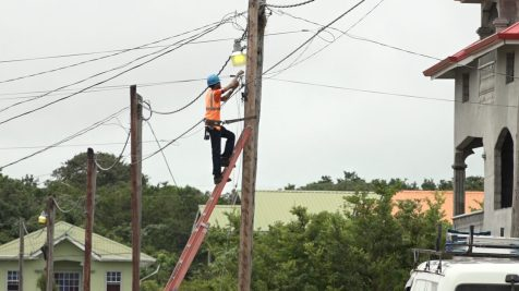 Technician installing the service in a part of the area