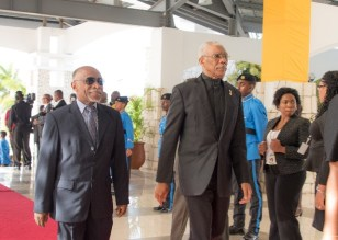 President David Granger and Minister of Foreign Affairs Carl Greenidge arriving to the Opening of the 39 CARICOM Heads of Government Meeting.