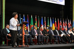 Prime Minister of Barbados Mia Mottley addressing the opening ceremony.