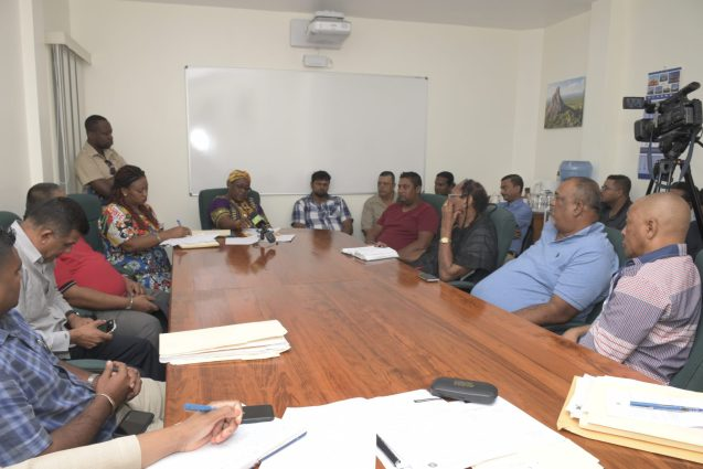 Sandpit operators and license holders' meeting with Minster within the Ministry of Natural Resources, Simona Broomes and Guyana Geology and Mines Commission (GGMC) officials