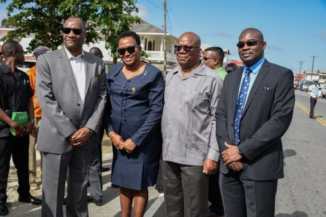 (from left) Minister of State, Joseph Harmon, Minister within the Ministry of Public Infrastructure, Annette Ferguson, Minister of Finance, Winston Jordan and Minister of Public Infrastructure David Patterson