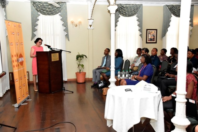First Lady, Mrs. Sandra Granger delivered the Charge to Participants at the UNFPA's observance of World Population Day.