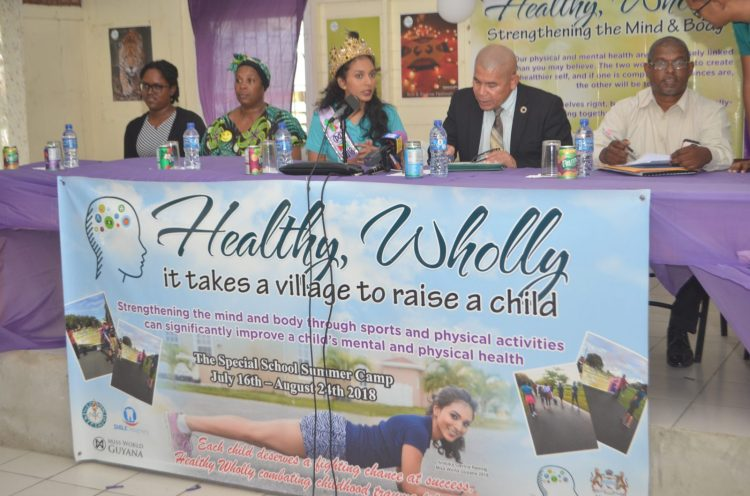 Miss World Guyana 2018, Ambika Ramraj, along with Minister of Social Cohesion, Dr. George Norton and representatives of the Ministry of Education, National Sports Commission and the Headteacher of Sophia Special Needs School