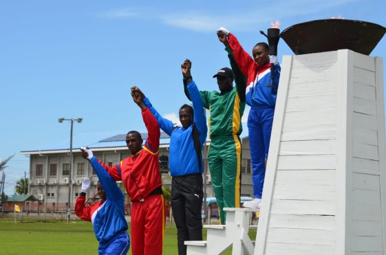 Guyana Police Force's (GPF) Officers as they lit the symbolic torch to commence the games