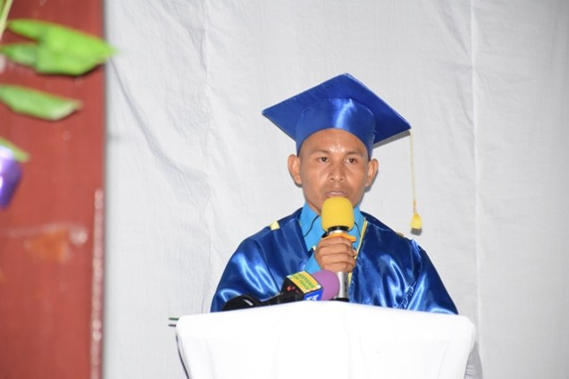Valedictorian Joseph Alfred delivering his speech