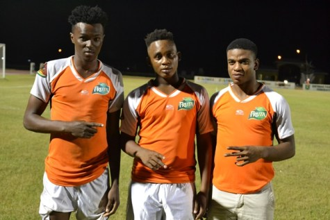 [In the photo, from left] Goal scorers for Fruta Conquerors; Dennis Edwards, Ryan Hackett and Eon Alleyne.