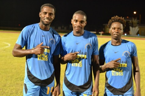 [In the photo, from left] Goal scorers for Den Amstel; Kevaughn Ward, Delon Lanferman and Gideon Payne.