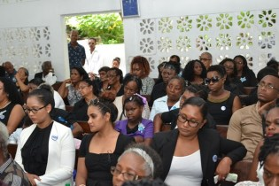 A section of the congregation gathered to reflect on the life of Debra Herima Cadogan.