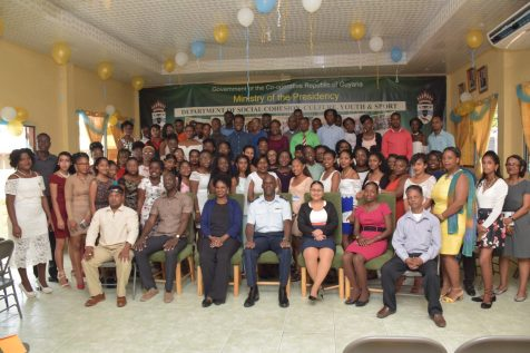 In the photo, from left to right] Deputy Director of Education and Training, Ronald Austin Jr., Deputy Director of Youth, Leslyn Boyce, Director (ag), Civil Defence Commission (CDC), Lieutenant Colonel Kester Craig, Deputy Director, Research and Planning, Adeti De Jesus and participants at the Madewini Training Center
