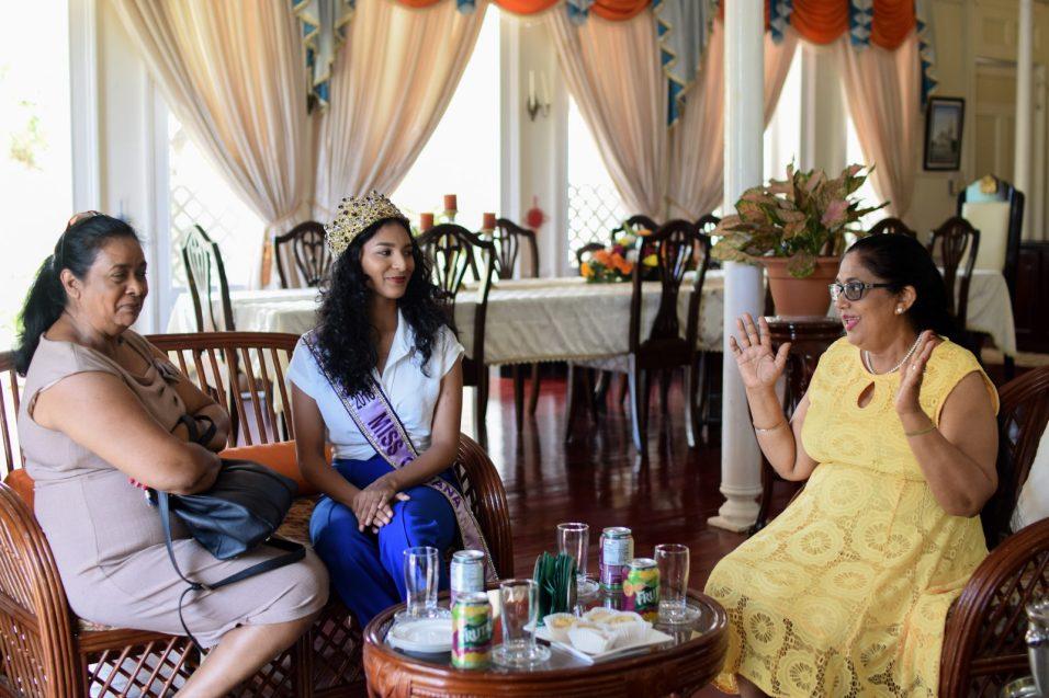 Mrs. Sita Nagamootoo, Miss World Guyana 2018, Ambika Ramraj and her mother, Surujdai Ramraj interact with each other