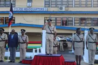 Commissioner of Police (ag), David Ramnarine taking the salute at the Police Headquarters.