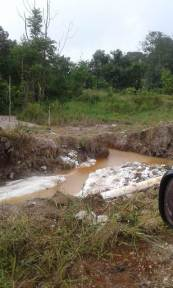 Guyana Water Inc. photos of the damaged pipeline.