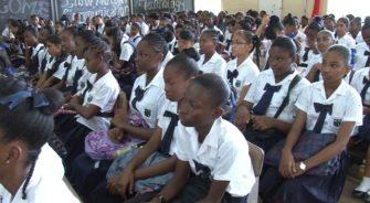 Students at West Demerara Secondary School