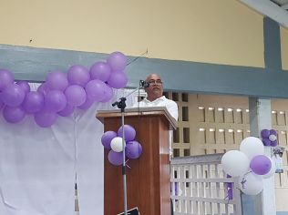 REO Denis Jaikaran addressing the gathering at the rally