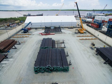Materials that will be used in the offshore developments are housed at the shore base.