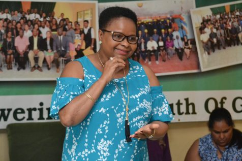 Minister of Public Health, Volda Lawrence while interacting with type 1 diabetic youths