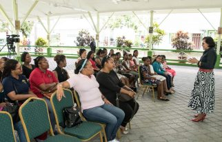First Lady, Mrs. Sandra Granger spoke to the Girl Guides, troop leaders, and parents of the Fifth and Sixth San Fernando Brownie and Junior Guides of Trinidad and Tobago