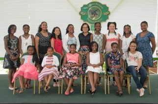 Mrs. Granger posed with the Trinidad and Tobago Girl Guides