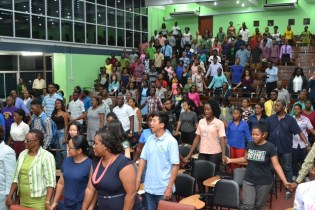 New students of the University of Guyana at the 2018/2019 Orientation.