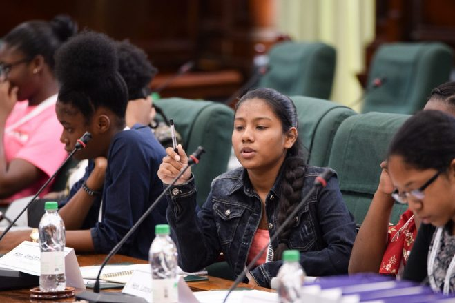 Members of the Youth Parliamentarians preparing themselves for the debates