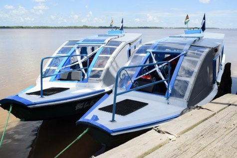 The newly commissioned water taxis, Blessed One and Blessed Two.