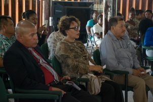 [from left] Minister of Social Cohesion with responsibilty for Culture, Dr. George Norton, Minister within the Ministry of Indigenous Peoples' Affairs, Valerie Garrido-Lowe and Minister of Indigenous People's Affairs, Sydney Allicock