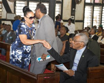 Mayor of Georgetown, Patricia Chase Green greets President David Granger