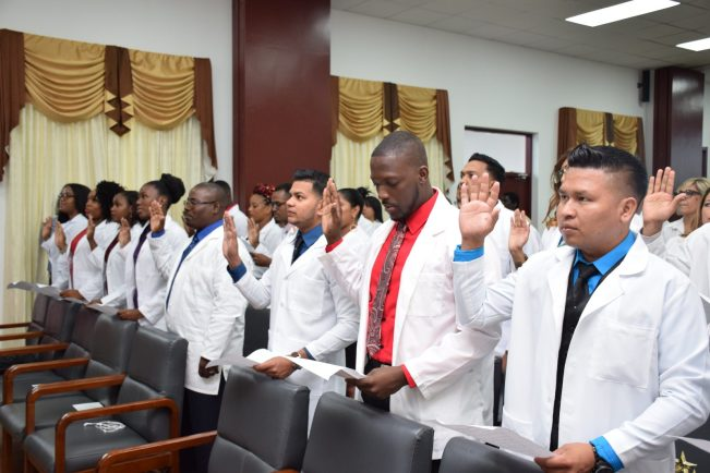 The 2018 batch Cuba-trained Medical Doctors taking the Hippocratic Oath