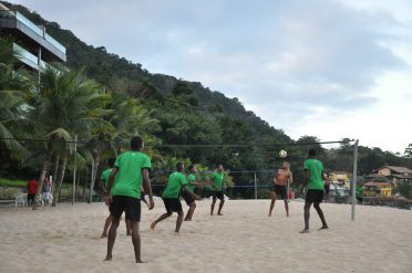 Golden Jaguars indulging in a game of head tennis on the beach at their team hotel in Rio (1)