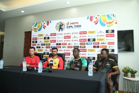 [In photo, from left to right] Head Coach of the Guyana Amazon Warriors (GAW), Johan Boatha, Captain of GAW, Shoaib Malik, Patriots' Captain, Carlos Brathwaite and Patriots' Head Coach, Donovan Miller