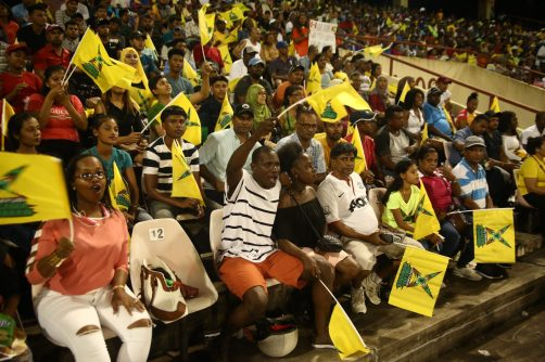 Supporters of the Amazon Warriors enjoying the cricket match