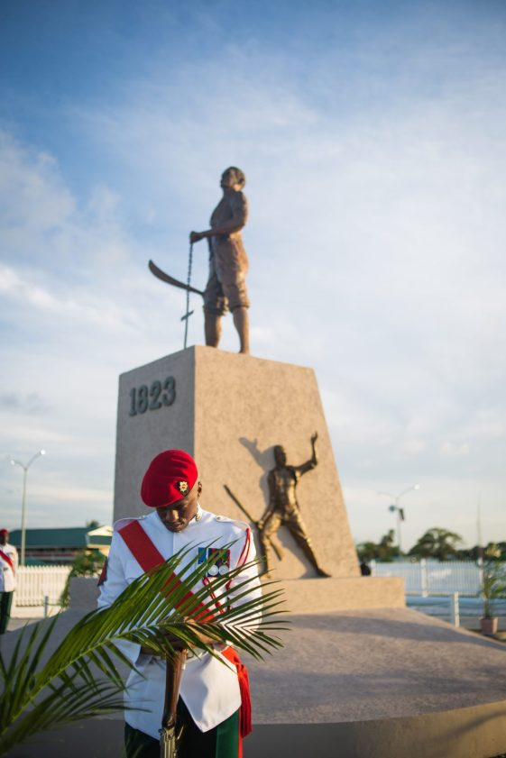 The 1823 Monument is located along the Seawall Road opposite the Guyana Defence Force's Camp Ayanganna