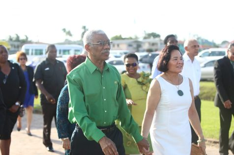 President David Granger and First Lady Mrs. Sandra Granger arriving at the 20th Biennial PNC/R Congress