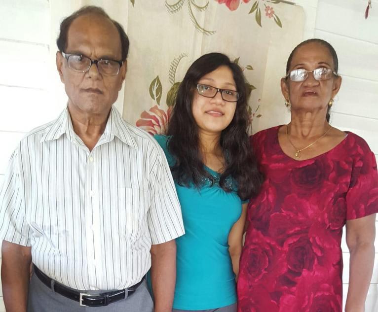 Yugeeta Kumar with her grandparents Madan Kumar and Anetta Persaud