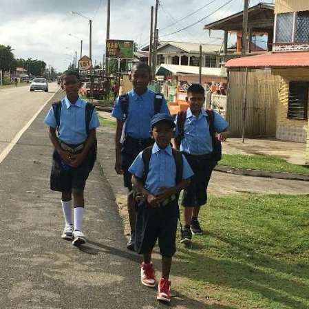 Students from Kildonan Primary making their way to school.