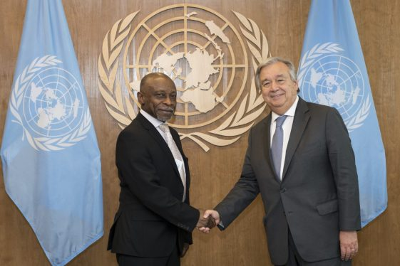 Minister of Foreign Affairs, Carl Greenidge meets with UN Secretary-General, António Guterres, at the (UNGA 73)