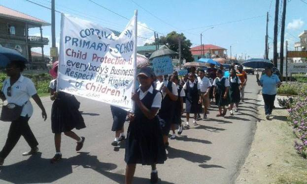 Students of Corriverton Primary joins in bringing awareness of Child Abuse.