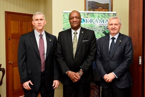 From left: Country Manager of ExxonMobil Guyana, Mr. Rod Henson, Minister of State, Mr. Joseph Harmon and Executive Vice President at Exxon Mobil Exploration Corporation, Mr. Mike Cousins.