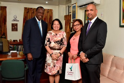 First Lady Mrs. Sandra Granger (second left) stands with CAL's Chief Executive Officer, Mr. Marvin Medera (right), CAL's Senior Marketing Manager, Ms. Alicia Cabrera (second right) and Interim General Manager, Georgetown, Mr. Carl Stuart (left) following a meeting held at her office.
