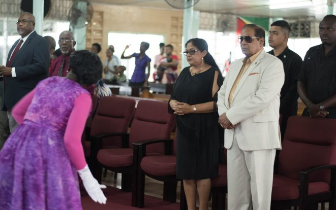 Prime Minister, Moses Nagamootoo and his wife, Mrs. Sita Nagamootoo shortly after their arrival at the First Assembly of God Church, Wortmanville