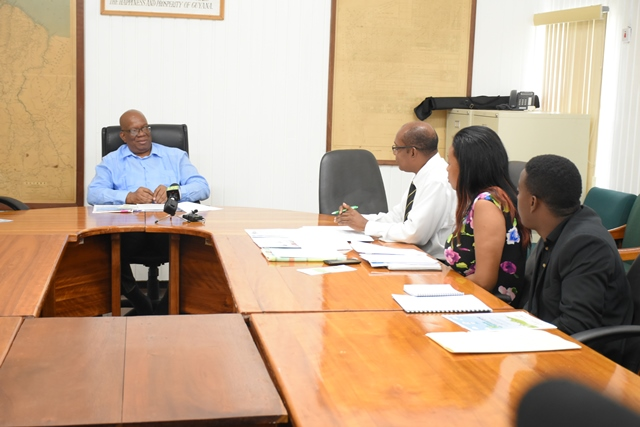 Minister of Finance Winston Jordan (2nd from left) with African Business Roundtable (ABR) Executives.