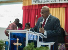 Rev. Dr. Murtland Raphael Massiah, officiating minister at the Dedication service