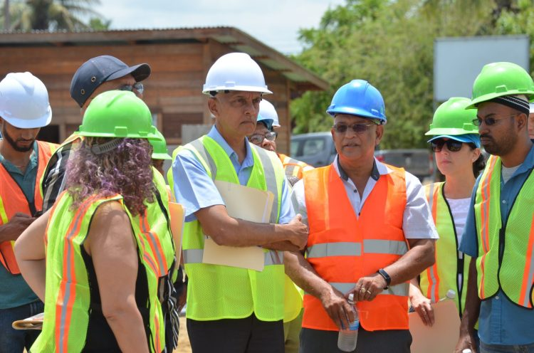 Minister of Communities Ronald Bulkan and team gets a tour of the site