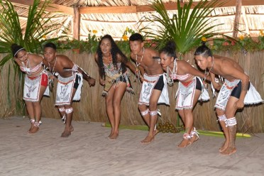 A cultural group performing a dance.