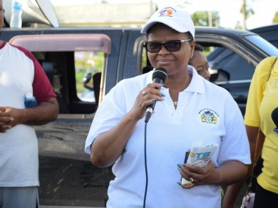 Minister of Public Health, Volda Lawrence addressing participant of the walk