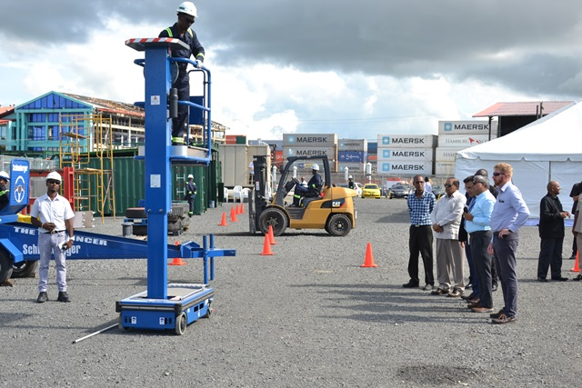 Prime Minister, Moses Nagamootoo on tour of the facilities and views a safety demonstration.