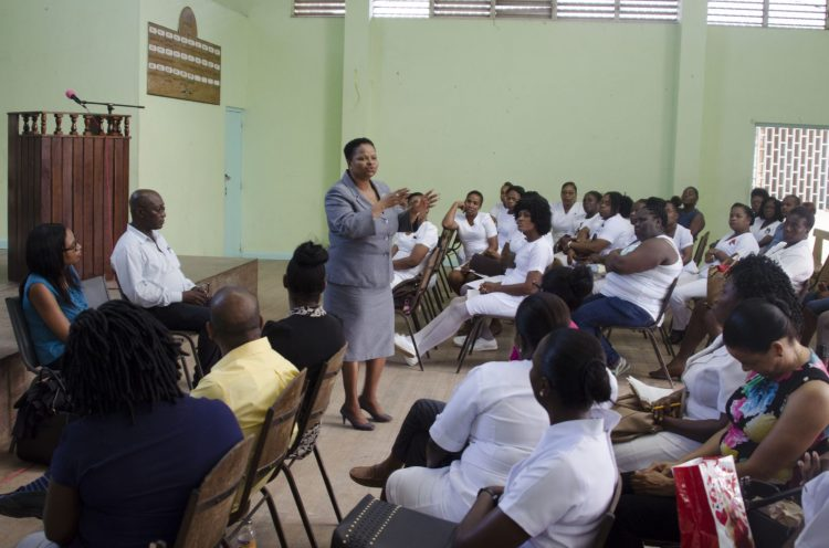 Minister of Public Health, Volda Lawrence meets with nurses in Region Ten.
