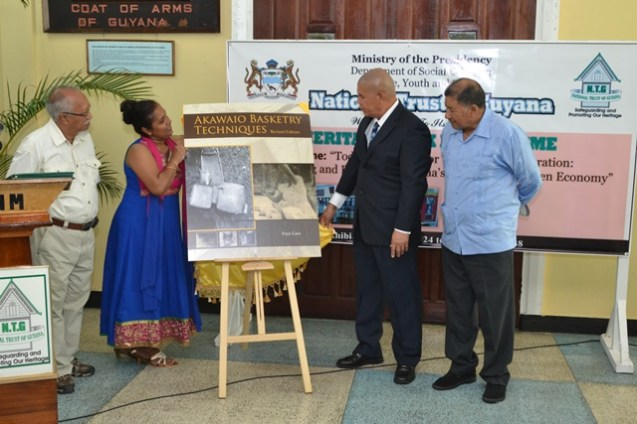 [In the photo, from left to right] Chairman of the National Trust of Guyana, Lennox Hernandez, Chief Executive Officer (CEO) of the National Trust of Guyana, Nirvana Persaud, Minister of Social Cohesion, Dr. George Norton and Minister of Indigenous Peoples' Affairs, Sydney Allicock unveils Akawaio Basketry Techniques.